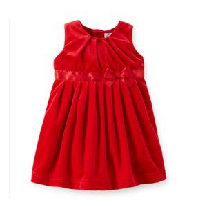 Carters Infant Girls Red Velvet Bow Party Dress